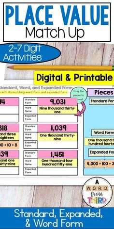 Students practice standard form, expanded form and word form of numbers by cutting out each one and matching the three together. This set includes many different level/degrees of difficulty so that it is really easy to differentiate! Both printable and digital options! Math Place Value, Place Values, Special Education Inclusion, Math Fact Practice, Number Chart, 1st Grade Math Worksheets, Expanded Form, Standard Form, Guided Math