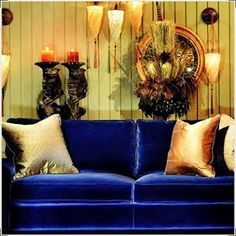 Yes, and this ridiculously sexy blue velvet loveseat  / sofa. Seriously, I think I need some alone time with this picture...uhhh, if you'll excuse me.