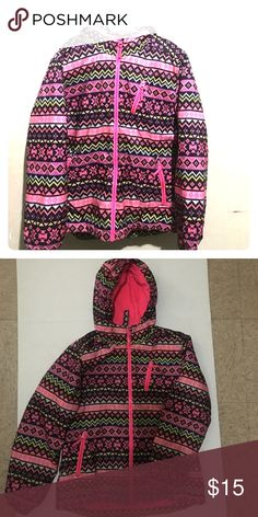 Girls size 10/12 winter coat Very cute girls winter coat, size 10/12.  Multiple pockets, comfy hood, and made of multiple colors to accessorize with. Like new and worn with love and care  😊 Children's Place Jackets & Coats Puffers
