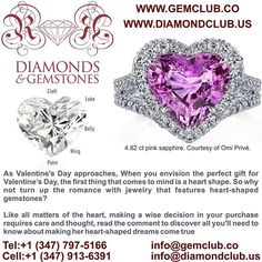 Tips for Buying Heart-Shaped Gems: -First, there are a few terms used to describe the parts of a heart-shaped gem that might be helpful to know. The cleft is the V-shaped area between the two rounded ends or lobes of the heart. The slightly curved center where it widens on each side below the lobes is called the belly. As it begins to taper toward the bottom of the heart, the area between the belly and the point is called the wing. -The length of a heart-shaped gem is measured from its point…