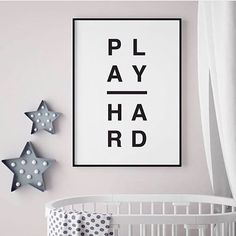 'Play Hard' Typographic Print by oso twee, the perfect gift for Explore more unique gifts in our curated marketplace. Baby Decor, Kids Decor, Home Decor, Nursery Prints, Nursery Decor, Hygge Home, New Print, Newborn Gifts, Play Hard