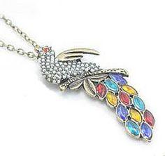 Multi Gemstone Gold Bead Bird Necklace