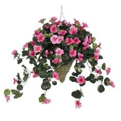 House of Silk Flowers Artificial Nasturtium Hanging Plant in Beehive Basket Flower Color: Pink