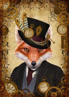 Steampunk Fox Art Print Wall Art Poster, Home Decor, Fox in clothes, Fox Wall Art, Quirky Animal Art Hirsch Illustration, Illustration Art, Illustrations, Wall Art Prints, Fine Art Prints, Fox Decor, Folded Book Art, Cat Posters, Rabbit Art