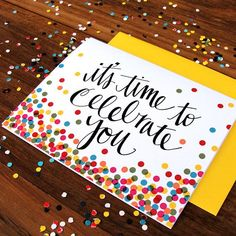 Boxed Set Of Its Confetti Time Greeting Cards Handwritten Typography Celebration Card