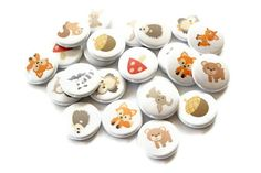 Woodland Party Favors - Set of 24 Pinback Buttons - Woodland Forest Animals, Fox, Owl. $8.00, via Etsy.
