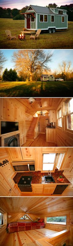 From Bear's Tiny Homes is this cabin style tiny house. They debuted the tiny home at the 2016 Florida Tiny House Festival and tied for Best Builder. #tinyhouses #tinyhouseonwheels #tinyhome
