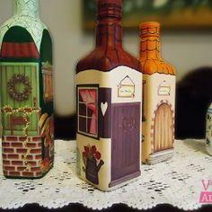 Como decorar uma garrafa com decupagem e pintura