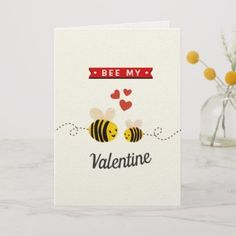 Shop Honey Bee Funny Whimsy Valentine's Day Card created by Invitation_Republic. Homemade Valentines Day Cards, Funny Valentines Cards, Valentines For Kids, Valentine Day Crafts, Homemade Cards, Handmade Valentine Gifts, Valentine's Cards For Kids, Bee Cards, Valentine's Day Diy