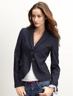 banana republic ....I would have the blazer open