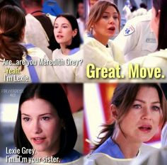 Meredith and Lexie meet.