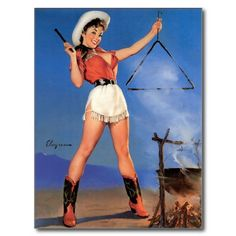 Pin-up Art Postcard Gil Elvgren Sexy Busty Cow Girl Short Skirt Cowboy Boots Pin Up Vintage, Cowgirl Vintage, Vintage Art, Pinup Art, Gil Elvgren, Pin Up Posters, Girl Posters, Cowgirls, Come & Get It