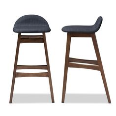 Bloom Mid-Century Modern Dark Blue Fabric Bar Stool Set of 2 from Baxton Studio. Infuse your home with everyday function and organic appeal with the Bloom Mid-Century Bar Stool. This modern bar stool features a bold solid wood base that ensures long lasting strength while the plush seat in dark blue fabric is small with a supportive backrest. The built-in footrest offers extra support. Bloom barstool is the perfect balance of comfort and style. The crisp clean lines and subtle curve is…