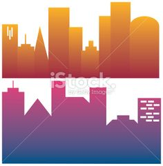 Urban City Silhouettes Royalty Free Stock Vector Art Illustration
