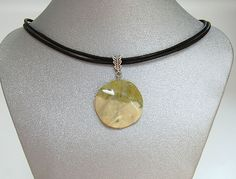 Natural Gemstone New Jade Yellow Green Round Pendant Necklace Fengshui Chakra #Handmade #Pendant