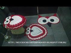 Meu Crochê Contemporâneo: Jogo de Banheiro Coruja com Barbante nº 8 - Tapete