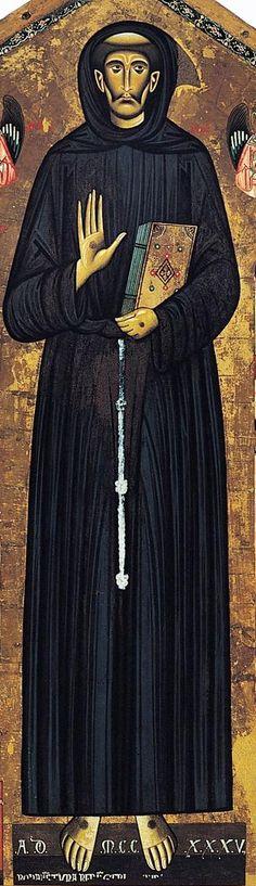 Bonaventura Berlinghieri - San Francesco - (San Francesco e storie della sua vita), dettaglio - tempera e oro - c.1235 - Chiesa di San Francesco, Pescia, Italia