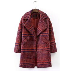 Yoins Plaid Lapel Woolen Coat in Red (€51) ❤ liked on Polyvore featuring outerwear, coats, yoins, jackets, red, tartan coat, longline coat, long sleeve coat, red plaid coat and wool coat