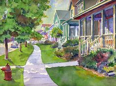 American Side Street, Original Watercolor, Louise O'Donnell