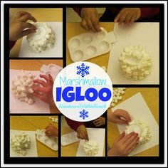 Winter craft: Igloo made with Marshmallows glued onto a paper cup.  Adorable! #kindergarten