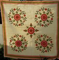 1880's Turkey Red  Poison Green Dbl Pink Whig Rose Antique Quilt, eBay, alleyfloantiks