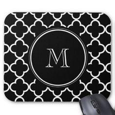 Black White Quatrefoil Pattern, Your Monogram Mouse Pad