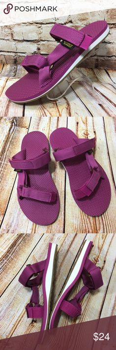 Brand New TEVA Pink & White Slides Flat Sandals Brand new, never worn slides. Please see pics for more details (: Teva Shoes Sandals