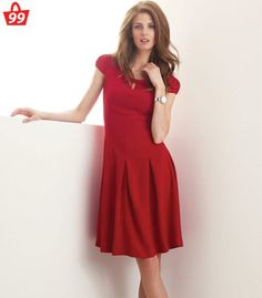#Dress up chic this season! The Red #Dress lends a defining shape to your #personality. #Style yours with platform heels and carry a box clutch along.