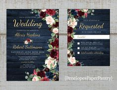 This Rustic Navy Floral Fall Wedding InvitationBurgundyBlushNavy is just one of the custom, handmade pieces you'll find in our invitations shops. Wedding Sets, Our Wedding, Wedding Venues, Dream Wedding, Spring Wedding, Luxury Wedding, Wedding Reception, Chic Wedding, Wedding Sparklers