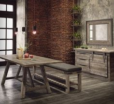 Add industrial inspired style to your home with the Oakham dining table and bench. Living Furniture, Luxury Furniture, Brick And Stone, Stone Walls, Barker And Stonehouse, Furniture Manufacturers, Dining Room Design, Luxury Living, Dining Table