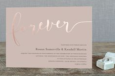 """Forever Love"" - Modern, Simple Foil-pressed Wedding Invitations in Gold by Paper Dahlia."