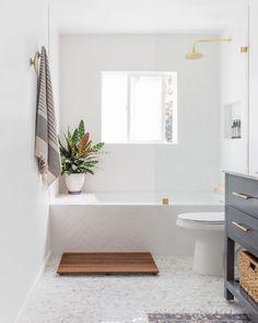 Vanity: Home Depot Mirror: Faucet: Restoration Hardware Vanity Light: Etsy Showerhead: Restorati Bad Inspiration, Bathroom Inspiration, Beautiful Bathrooms, Modern Bathroom, 1920s Bathroom, Bathroom Renos, Laundry In Bathroom, Bathroom Beach, Small Bathroom With Tub