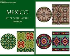 PATTERN: MEXICO - Set of wayuu mochila patterns - wayuu bag pattern - mochila bag pattern - tapestry crochet pattern - cross stitch pattern Mochila Crochet, Tapestry Crochet Patterns, Bag Pattern Free, Christmas Settings, Crochet Purses, Loom Weaving, Etsy App, Crochet Designs, Cross Stitch Patterns