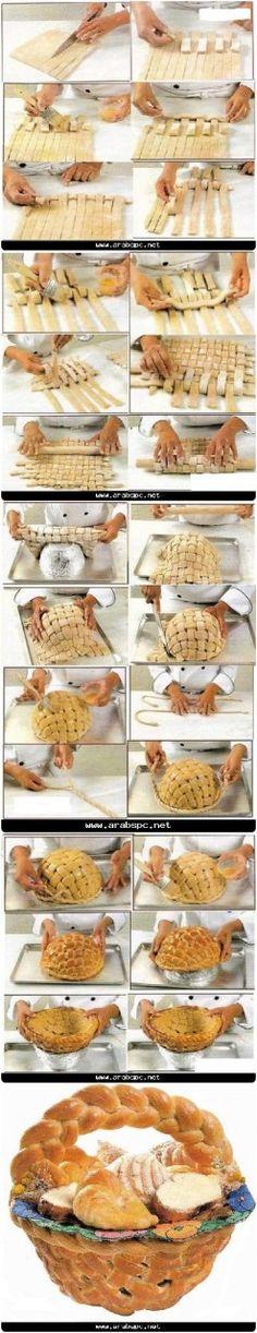 Cesto di #pane al forno completamente commestibile #Edible large basket, #bread, #tutorial: