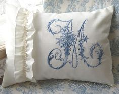 Custom Victorian Moiré French Embroidered Monogram Boudoir Pillow or Cushion Cover