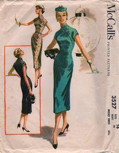 1950s McCalls 3527 Misses Cheongsam Sheath Dress Pattern Womens Vintage Sewing…