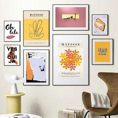 Retro Matisse Yellow Pink Tones Wall Gallery Art