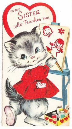 Vintage Little Kitty Painting Picture Paramount Valentine Greeting Card