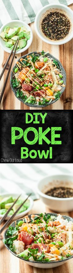 GF, Healthy, Easy, with Sriracha Mayo recipe. Make your own poke bowl just the way you like it! #poke #bowl #healthy #seafood #fish www.chewoutloud.com