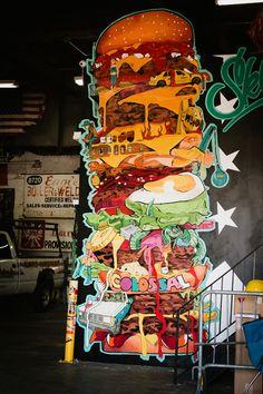 "voyage à new york de ""Christelle is flabbergasting"" Graffiti Art, New York Graffiti, Murals Street Art, Art Mural, New York Restaurants, Restaurant New York, Graffiti Restaurant, Voyage New York, Airplane Decor"