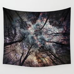 Trees Wall Tapestry Stars Forest Night Sky Home Decor by MGMart