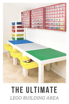 If your kids are Lego addicts, they'll love this DIY Lego table! Build entire worlds on top of IKEA Lack tables covered with Lego base plates, keep loose bricks at their fingertips with the overhead storage bins, and sweep it all into the undermount storage drawers when they're done! You can't get more Lego storage than this! #lego #legostorage #playroom #kids