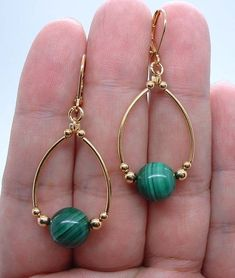 Quality Green Malachite Gold Earrings -- Leverbacks 0529