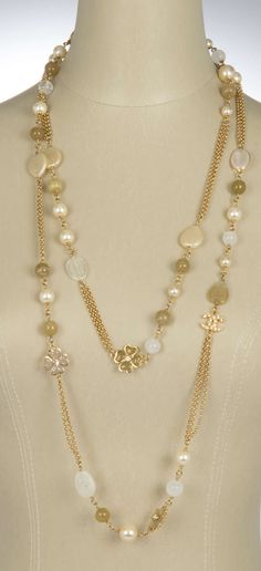 Chanel Long Cloverleaf and Pearl Chain Necklace | From a unique collection of vintage more necklaces at https://www.1stdibs.com/jewelry/necklaces/more-necklaces/