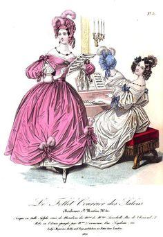Pink dress of velours épinglé, dress of white crape over white satin, Ladies Magazine, 1835
