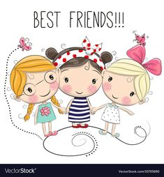 Illustration about Three Cute cartoon girls on a white background. Illustration of computer, characters, cute - 75671772 Cartoon Drawings Of People, Cartoon People, Cute Cartoon Girl, Cartoon Pics, Cartoon Characters, Cute Images, Cute Pictures, Girl Friendship, Cute Illustration