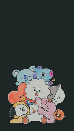 Ideas For Bts Wallpaper Cute K Wallpaper, Kawaii Wallpaper, Lock Screen Wallpaper, Bts Backgrounds, Cute Wallpaper Backgrounds, Aesthetic Iphone Wallpaper, Chibi Bts, Bts Drawings, Cute Cartoon Wallpapers