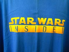 Vtg. Star Wars Insider Blue Tee Shirt 2XL Yellow Orange Lettering Front Arms #Superior #GraphicTee