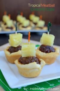Tropical Meatball Crescent Cups are perfect for a party!!