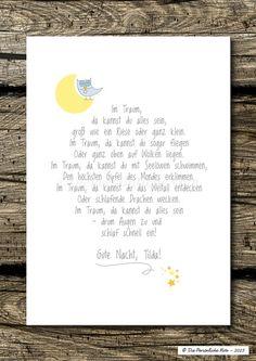 Druck/Wandbild: Im Traum, da kannst du alles sein! von Die Persönliche Note auf DaWanda.com (Diy Baby Stuff)